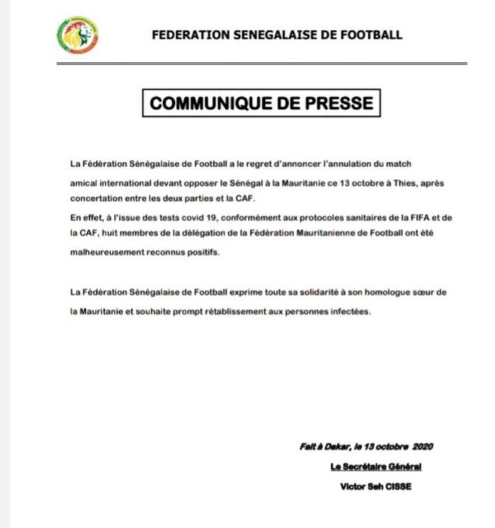 Amical Sénégal - Mauritanie : Le match annulé, huit membres de la délégation mauritanienne testés positifs au Coronavirus.