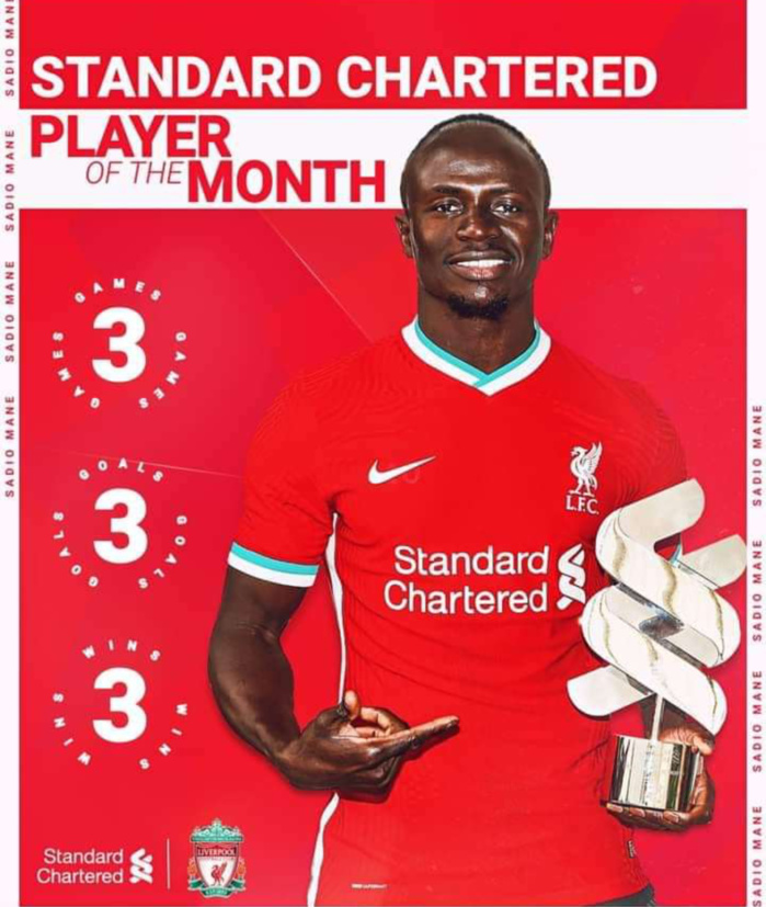 Premier League / Liverpool : Sadio Mané élu meilleur joueur du mois de septembre.