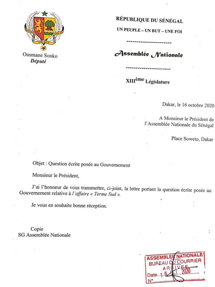 Gestion des biens du pays : Ousmane Sonko dépose une série de questions sur la table du Gouvernement. (DOCUMENTS)