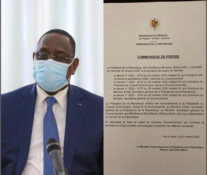 Urgent : Le président Macky Sall se sépare de ses ministres, Secrétaires généraux et de la Présidente du CESE. (DÉCRETS)