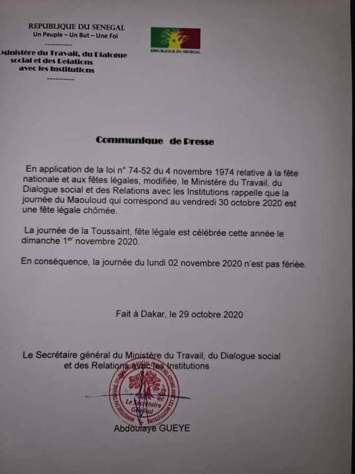 Société : Les précisions de l'administration concernant la fête de la Toussaint 2020.