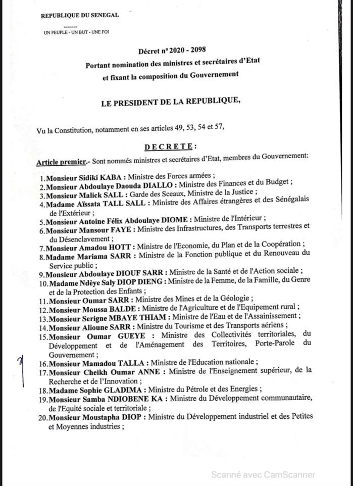 SÉNÉGAL : Voici la liste complète des membres du nouveau Gouvernement du président Macky Sall (DOCUMENT)
