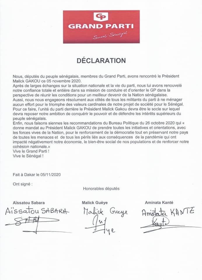 Politique : Les députés du Grand Parti se rangent derrière Malick Gackou et lui donnent mandat pour toutes initiatives et orientations pour le renforcement de la démocratie.