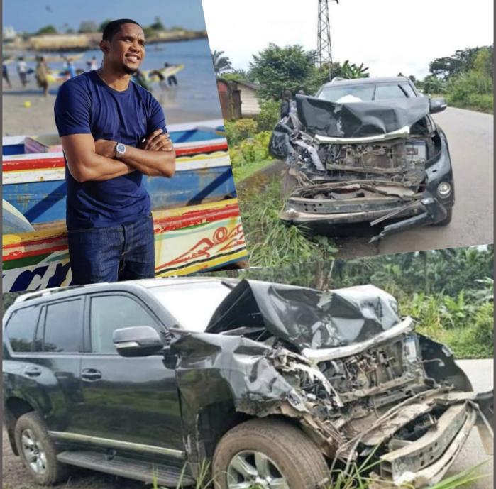 Accident de voiture : Samuel Eto'o échappe de justesse au pire sur la route de Douala.