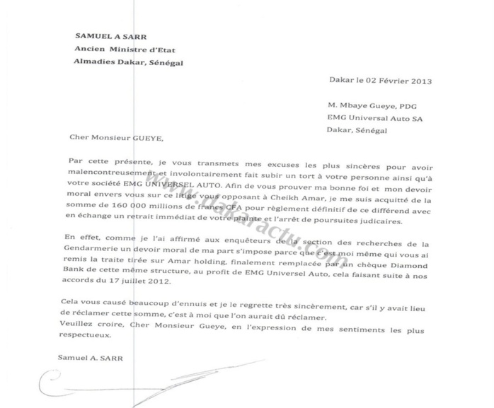 La lettre d'excuse de Samuel Sarr au patron de EMG, M'baye Guèye