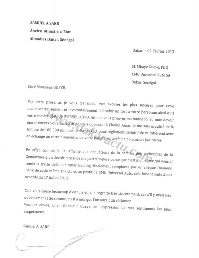 la lettre d 39 excuse de samuel sarr au patron de emg m 39 baye gu ye document. Black Bedroom Furniture Sets. Home Design Ideas