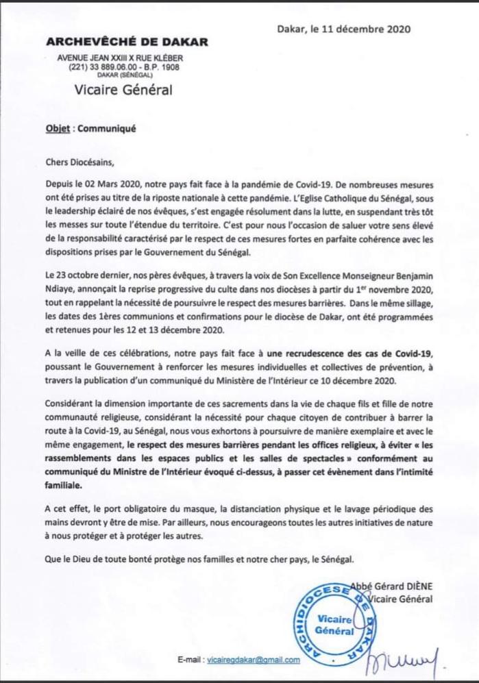 COVID-19 / Mesures du MINT : Les recommandations de l'Eglise Sénégalaise aux fidèles.  (DOCUMENT)