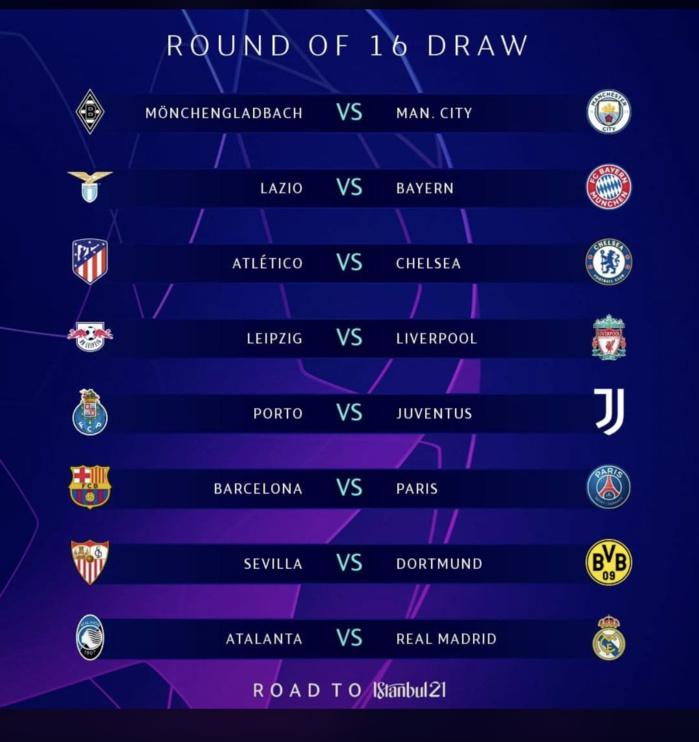 Le tirage au sort complet des huitièmes de finale de la Ligue des Champions.