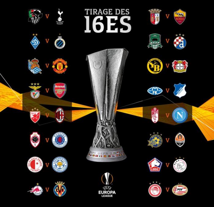 Europa League : Le tirage au sort complet des 16emes de finales.