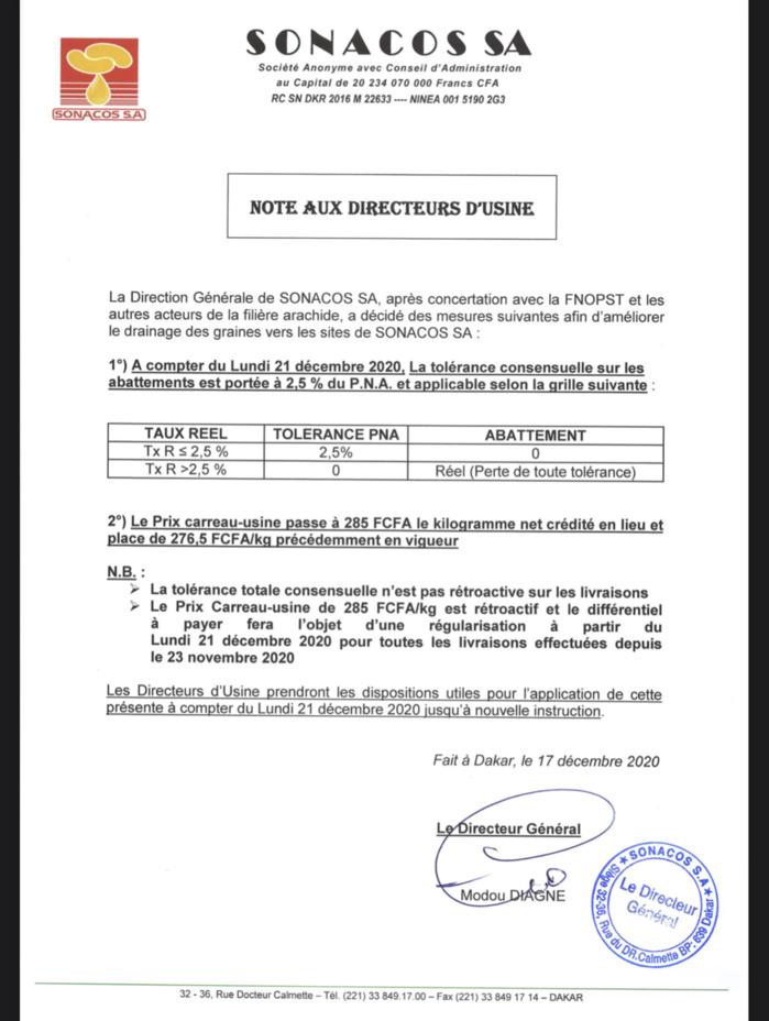 Voici la note de la Sonacos portant augmentation du prix carreau-usine de 276,5  à 285 Fcfa (DOCUMENT).