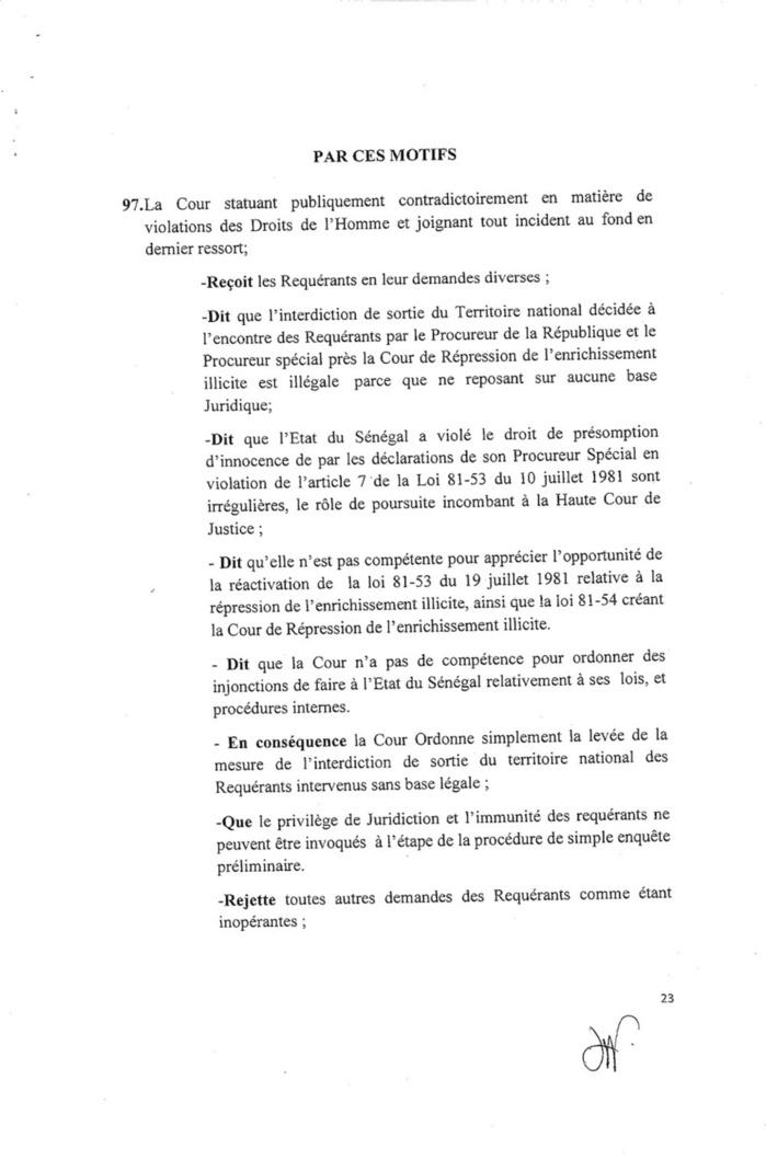 Exclusif Document : Voici l'arrêt délivré par la Cedeao!