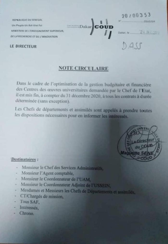UCAD : Le DG du COUD met fin à tous les contrats à durée déterminée (CDD)