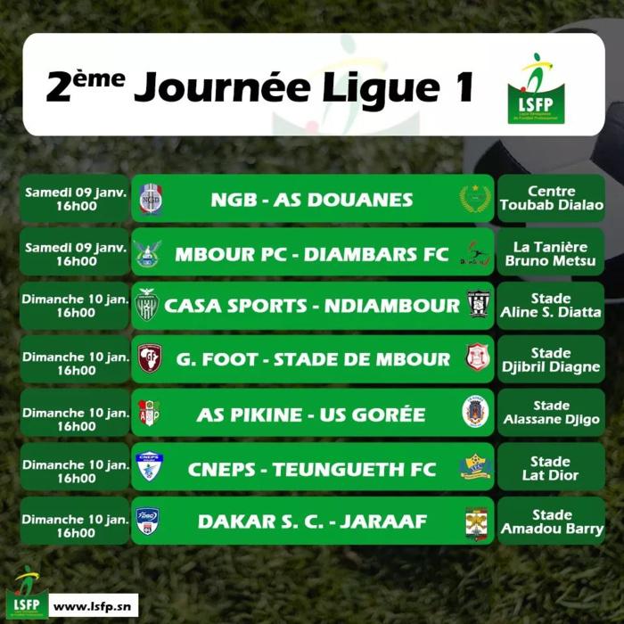 2ème journée Ligue 1 / Tous les matches prévus à 16h : Teungueth FC et le Jaraaf démarrent contre le CNEPS et Dakar-Sacré-Cœur...