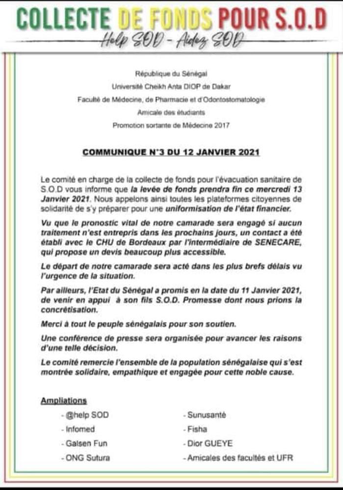 Affaire Sod : La réaction de l'État et la décision ferme du Comité chargé de la collecte de fonds pour l'évacuation sanitaire de l'étudiant.
