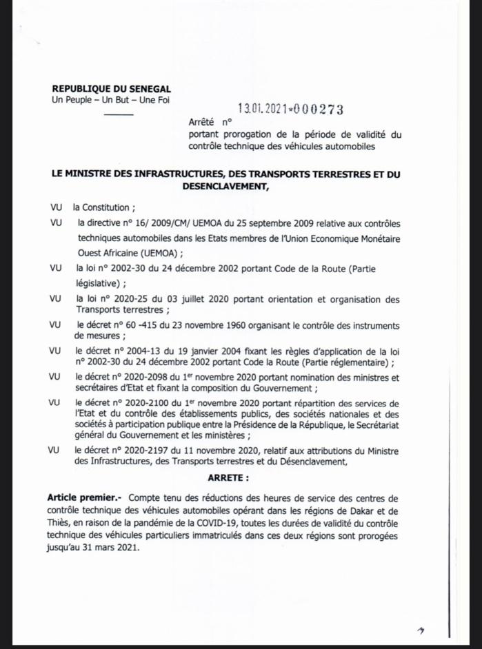 Sénégal : La durée de validité du contrôle des véhicules prolongée jusqu'au 31 mars 2021w (DOCUMENT)
