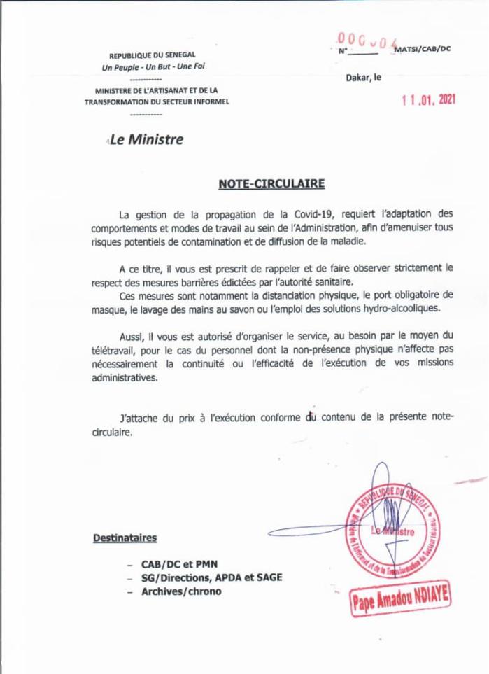 Covid-19/Administration : le MATSI invite ses services à une réorganisation du travail. (Document)