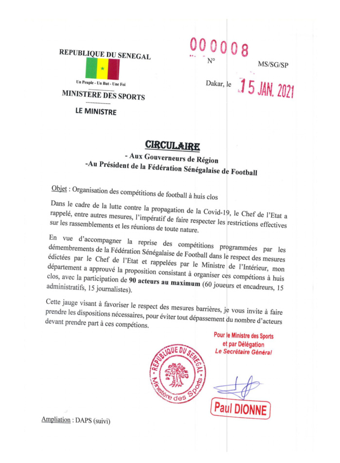 Football / Matches à huis clos : Le ministère des sports adresse une circulaire aux gouverneurs et présidents de clubs (Document)