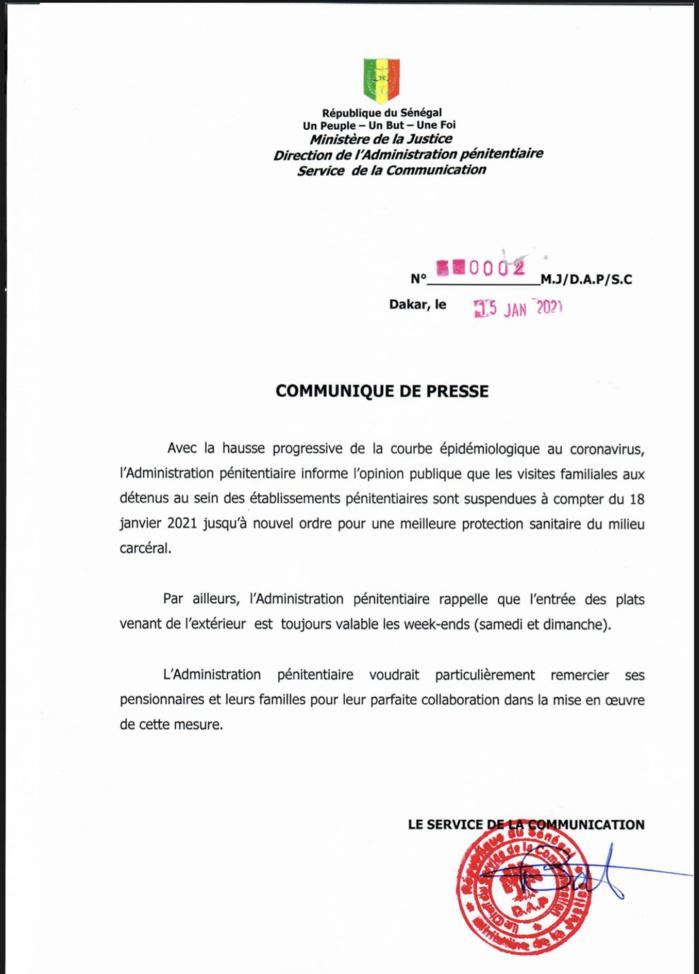 Coronavirus : Les visites en prison suspendues à compter du lundi 18 janvier jusqu'à nouvel ordre. (DOCUMENT)