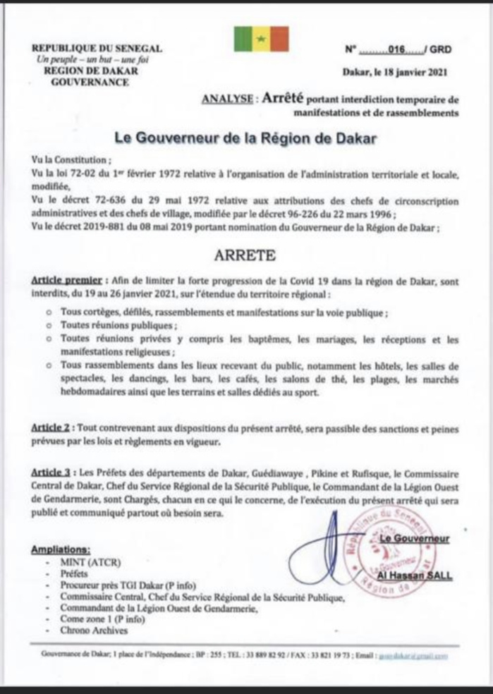 L'état d'urgence assorti d'un couvre-feu prorogé à Dakar : Le Gouverneur corse les mesures. (DOCUMENT)
