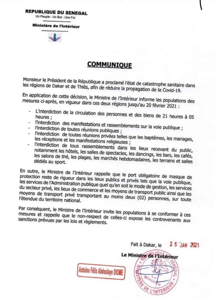 Sénégal : L'état de catastrophe assorti d'un couvre feu prorogé jusqu'au 20 février (MINISTRE DE L'INTÉRIEUR)