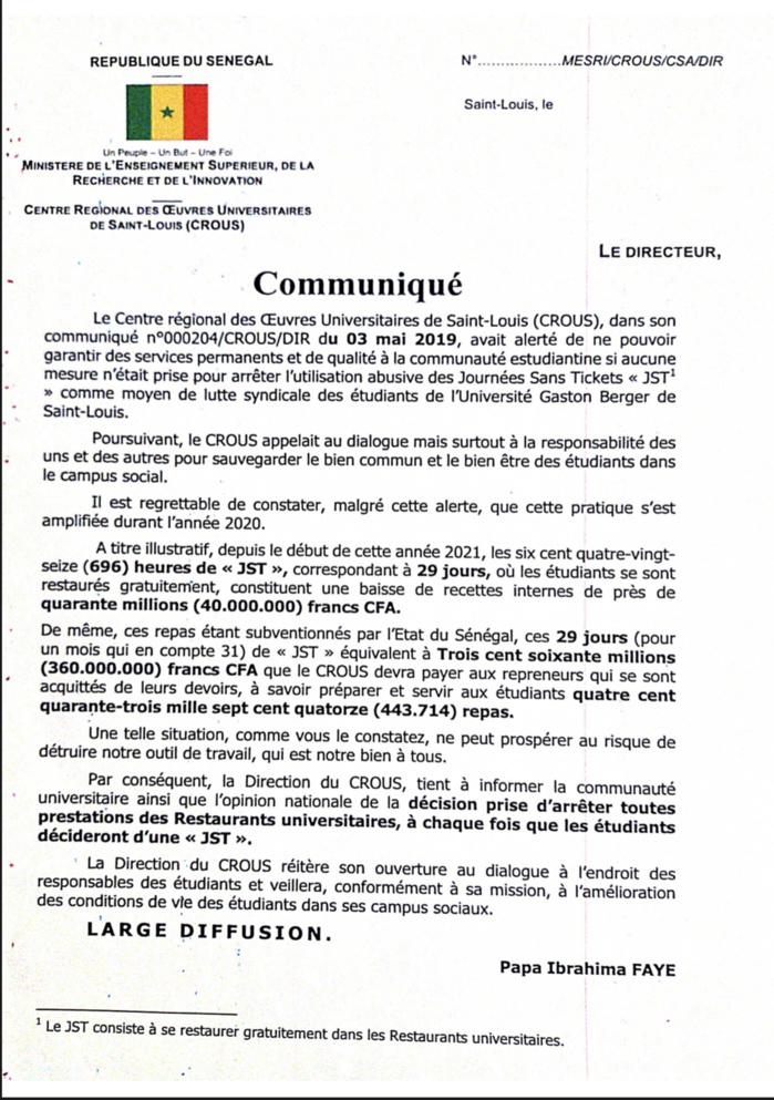 UGB-Saint-Louis : «Les journées sans ticket ont occasionné 40 millions de baisse des recettes interne» (Pape Ibrahima Faye)