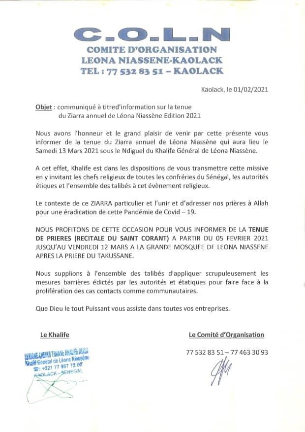 Léona Niassène : La cité religieuse décide du non report de la ziarra annuelle prévue le 13 mars prochain (Communiqué).