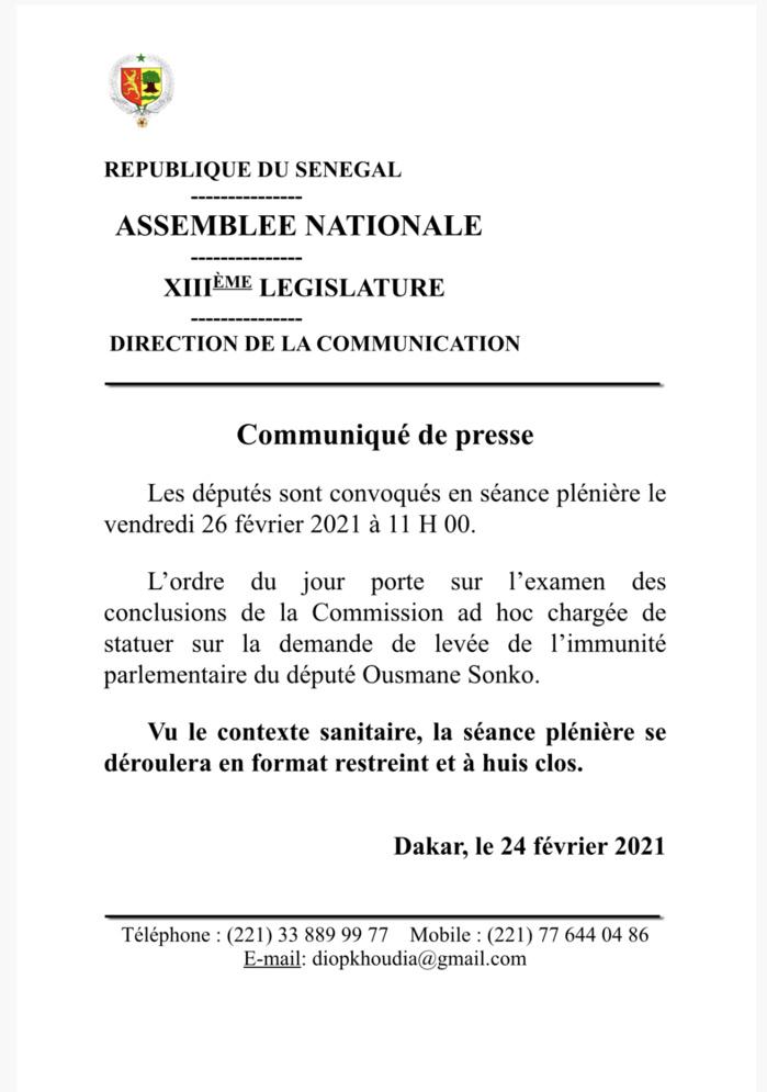 Levée de l'immunité parlementaire du député Ousmane Sonko : Les députés statuent ce vendredi.