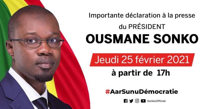 Affaire Adji Sarr : Ousmane Sonko face à la presse à 17 heures.