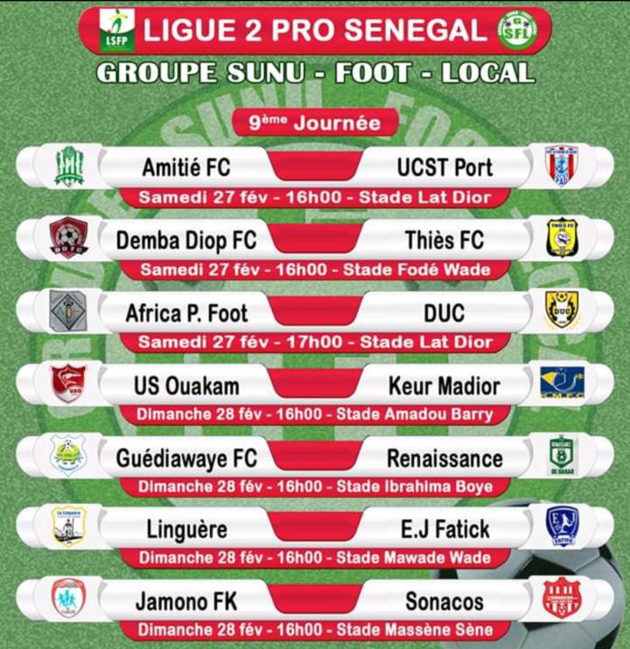 Ligue 2 : Le programme complet de la 9ème journée…