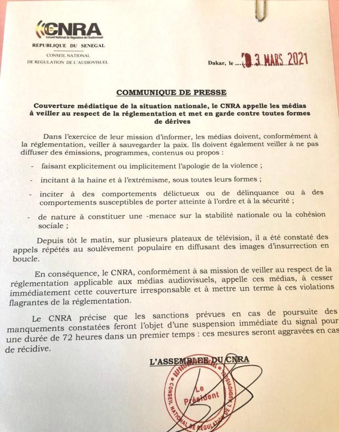 Arrestation de Ousmane Sonko : Le CNRA met en garde les télés qui appellent à l'insurrection et menace de suspendre le signal. (DOCUMENT)
