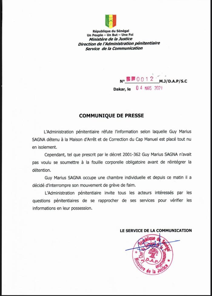 «Guy Marius Sagna isolé tout nu» : L'administration pénitentiaire dément l'information et indique que le leader de Frapp a interrompu sa grève de faim. (DOCUMENT)