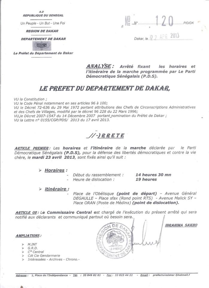 Arrêté préfectoral portant itinéraire et horaires de la marche du PDS