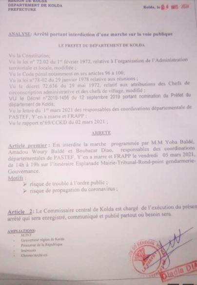 KOLDA : Le préfet interdit la marche prévue ce vendredi 05 mars.