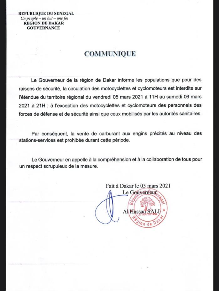 Dakar : La circulation des motocyclettes et cyclomoteurs est interdite à partir de 11 heures ce vendredi jusqu'à samedi à 21 heures. (DOCUMENTS)