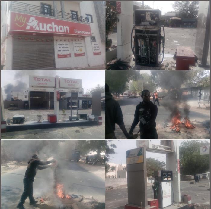 Manifestations à Tivaouane : Des assaillants sèment le trouble et brûlent une station d'essence.