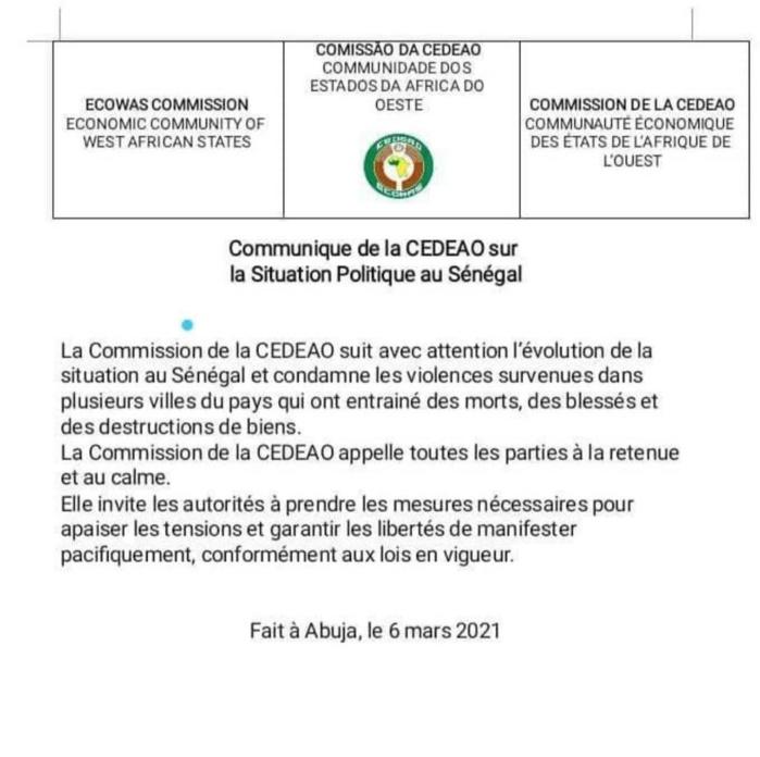 Scènes de violences au Sénégal : La CEDEAO appelle au calme et à la retenue.