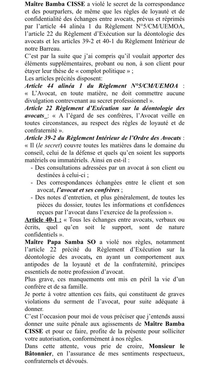 Graves violations du serment de l'avocat : une plainte de Me Dior Diagne brandie contre Mes Bamba Cissé et Papa Samba So et possibles poursuites judiciaires... (DOCUMENT)