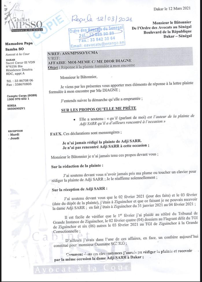 Plainte de Me Dior Diagne pour violation du serment de l'avocat : Me Pape Samba So fait des mises au point et entend poursuivre l'avocate pour «dénonciations calomnieuses et diffamation» (DOCUMENT)