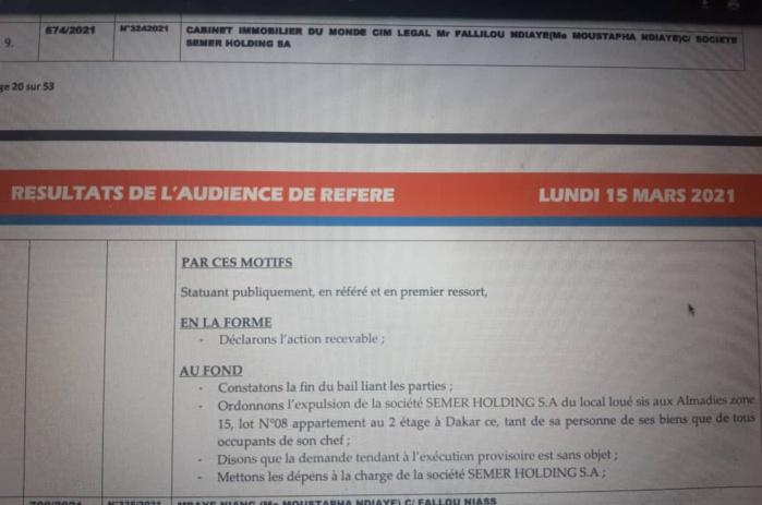 ALMADIES : Le tribunal prononce l'expulsion de Semer Holding, la société de Marcel Diagne.