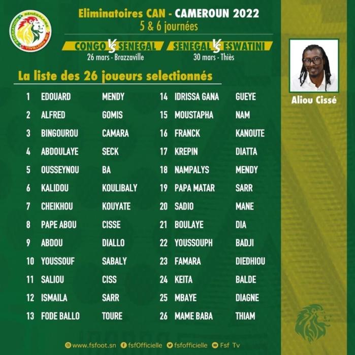 Éliminatoires CAN 2022 /  confrontations contre le Congo Brazza et Eswatini : Aliou Cissé dévoile une liste avec Abdou Diallo, Abdoulaye Seck et Nampalys Mendy, Mbaye Diagne signe son retour...