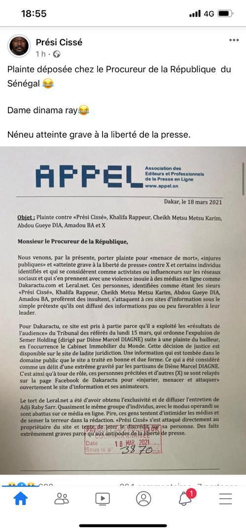 Menaces contre les sites Leral et Dakaractu : plainte de l'APPEL devant le Procureur contre des influenceurs