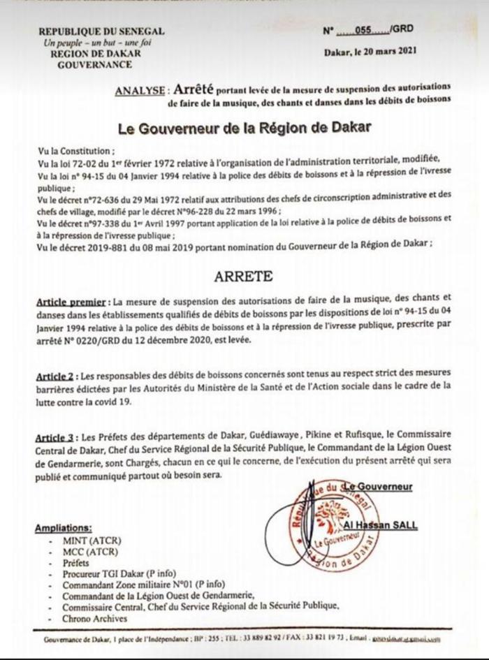Dakar : levée des mesures de suspension des autorisations de faire de la musique, des chants et danses dans les lieux établis qualifiés de débits de boissons.