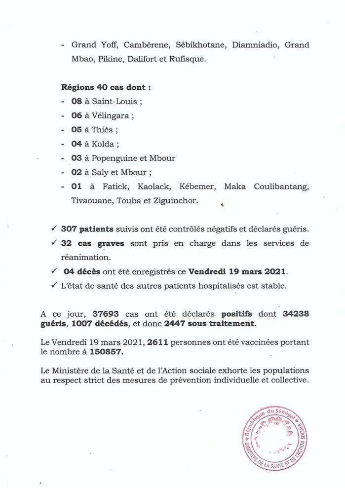 SÉNÉGAL : 140 nouveaux cas testés positifs au coronavirus, 329 nouveaux guéris, 6 nouveaux décès et 33 cas graves en réanimation.