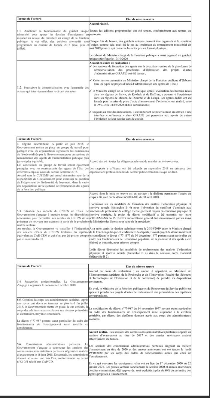 Matérialisation des accords signés avec les syndicats d'enseignants : Les précisions du ministre de la fonction publique (document).