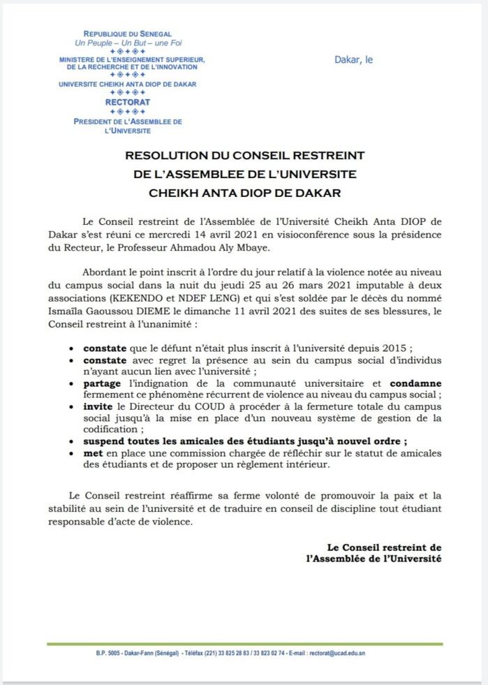 Violence à l'UCAD : Le conseil restreint suspend toutes les amicales et invite le directeur du COUD à fermer le campus jusqu'à nouvel ordre. (DOCUMENT)
