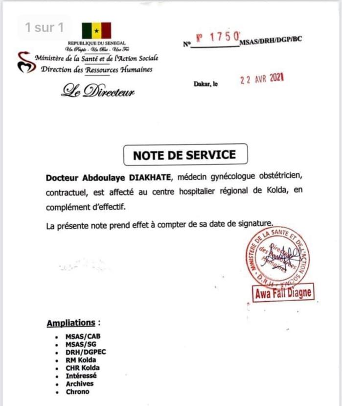 Hôpital régional de Kolda : Le ministère de la Santé envoie un gynécologue.