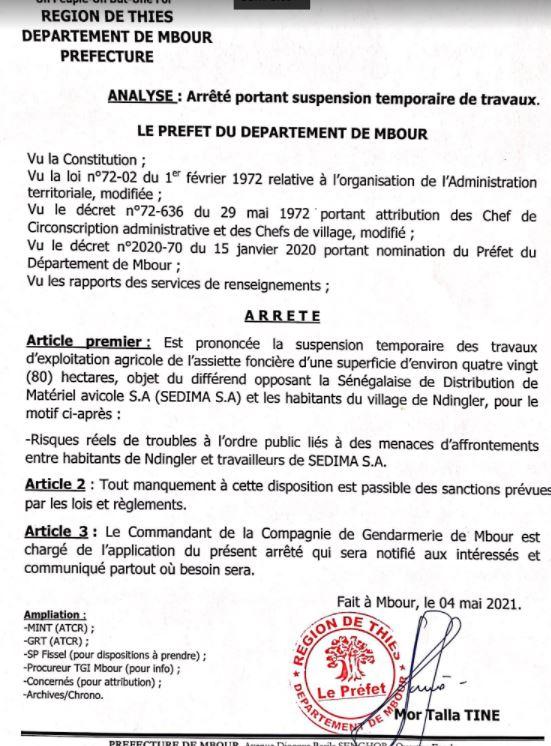 Ndingler : un arrêté suspend temporairement les travaux d'exploitation agricole de l'assiette foncière objet du différend
