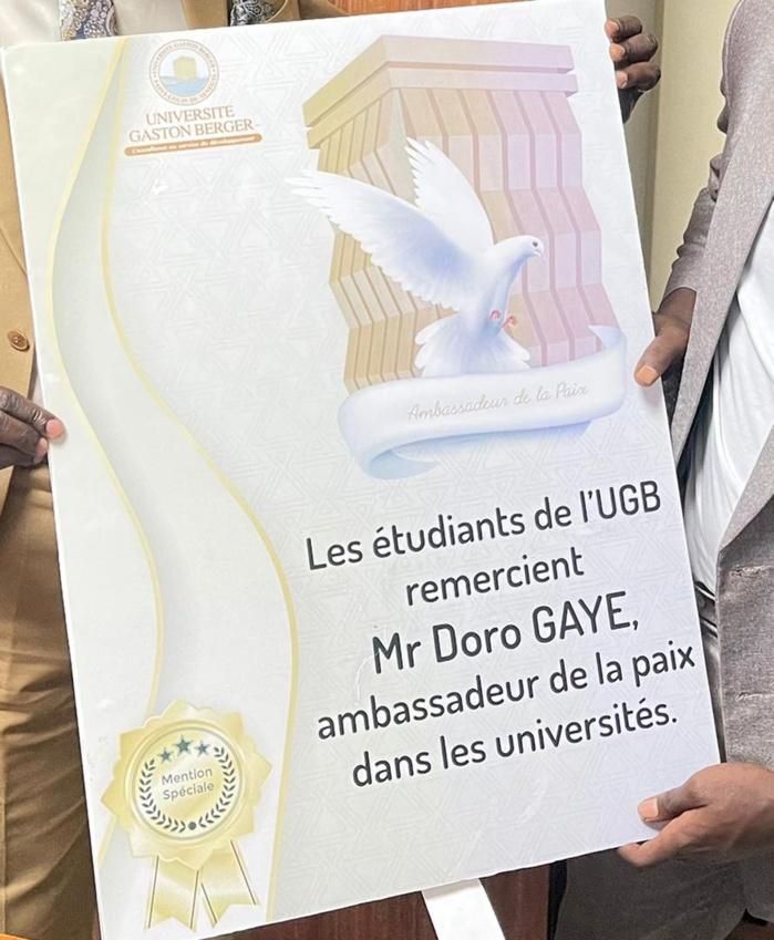 Social / UGB : Un natif de Kaolack reconnu ambassadeur de la paix des Universités.
