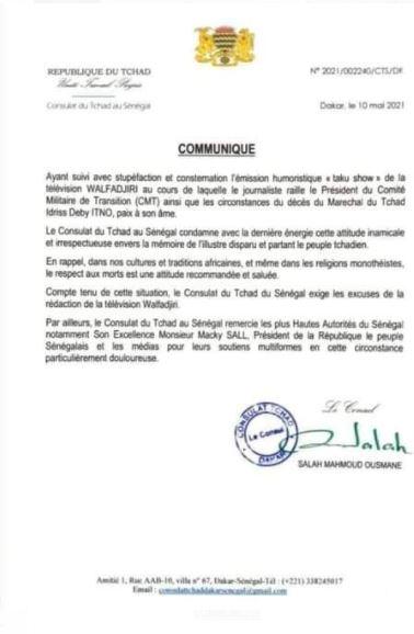 « Walf Tv » raille le Président du CMT du Tchad et la mort de Déby : Le Consul au Sénégal tape sur la table
