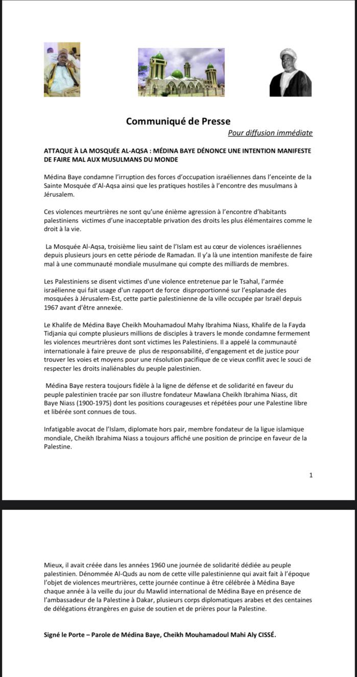 ATTAQUE À LA MOSQUÉE AL-AQSA : Médina Baye condamne la violence sur la Palestine. (DOCUMENT)